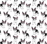 Frenchie Puppy Dog Gift Wrapping Paper - Folded Flat 30 x 20 Inch (3 Sheets)
