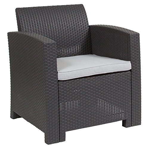 Flash Furniture Dark Gray Faux Rattan Chair with All-Weather Light Gray Cushion - DAD-SF2-1-DKGY-GG