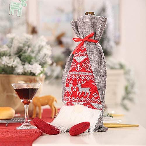 Udol Festliche Stimmung Weihnachtsartikel Rudolph Flasche Sets dreidimensionale Simulation der älteren bärtigen Rotweinflasche Taschen Geschenk-Taschen j0929 (Color : B, Size : 35 * 15.5cm)