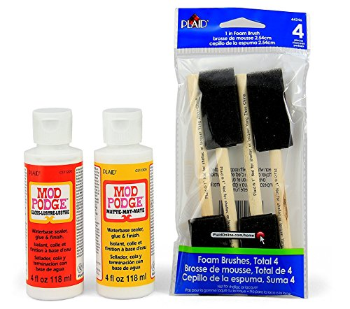 Mod Podge Basics Decoupage Bundle with 6 Items - Gloss and Matte Medium with 4 Foam Brushes - Comes with Photo Project Instructions