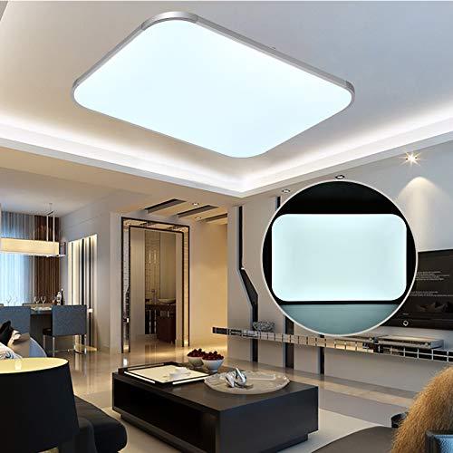 Lámpara de techo LED 48W, Panel de luz de techo rectangular de 3 modos de color, Lámpara de sala de estar, Foco de techo 3800LM con control remoto