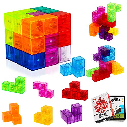 actoper Magnet Toys Building Blocks Magic Magnet 3D Puzzle Cubes, Stress Relief for Adults, Set of 7 Multi Shapes Magnet Blocks with 54 Guide Cards (Transparent)