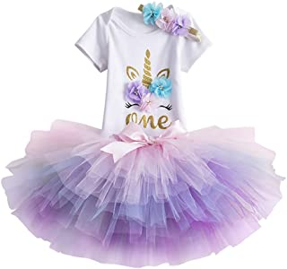 Unicorn Flower Outfit Baby Girls Romper + Ruffle Tulle Skirt + Headband First Birthday Party Dress up Costume 3Pcs Set