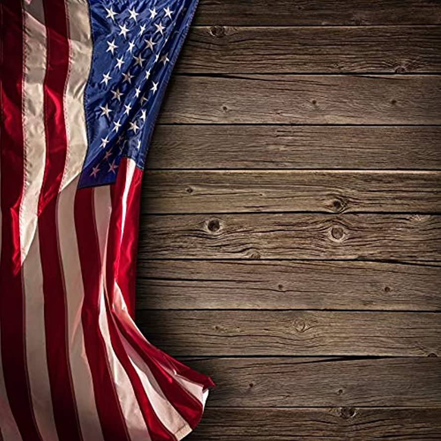 Leowefowa 8x8ft Rustic Bronwn Wooden Board Wood Planks Photo Backdrop American Flag July 4th Independence Day Backdrop Patriotic Themed Photography Background Veterans Day National Day Party Decor