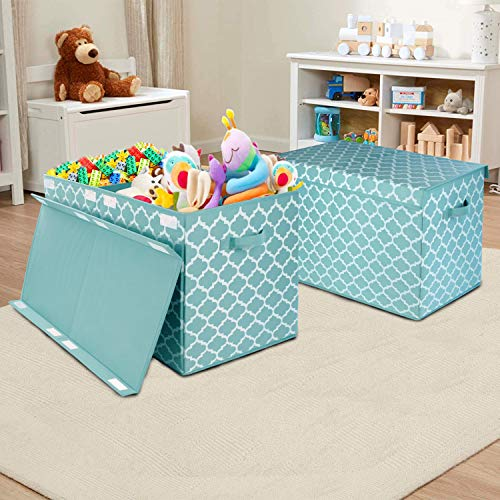 "Kids Large Toy Chest with Flip-Top Lid, Decorative Holders Collapsible Storage Box Container Bins for Nursery, Playroom, Closet, Home Organization, 24.5""x13"" x16"" (Blue)"