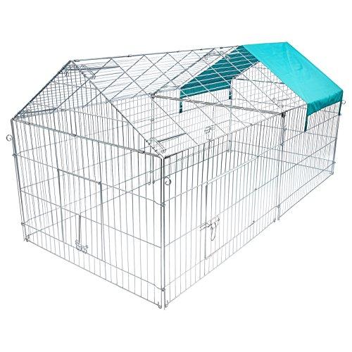 EUGAD Jaula de Conejo Recinto Hámster Ardilla Gallinero Pequeños Animales Conejera Exterior con Protección contra el Sol 220 * 103 * 103 cm 0200HT