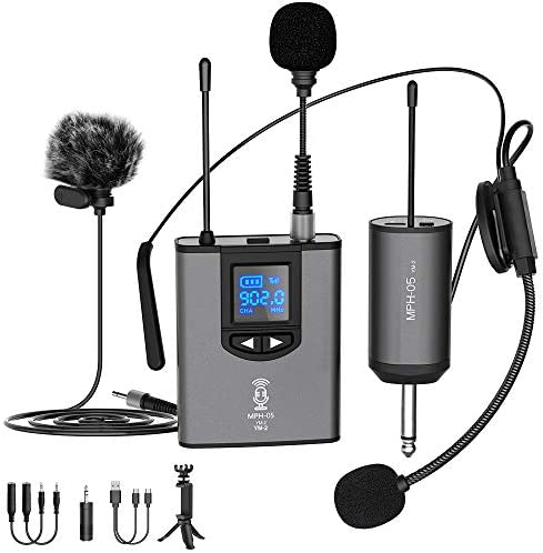 UHF Wireless Microphone System Headset Mic Stand Mic Lavalier Lapel Mic with Rechargeable Bodypack product image