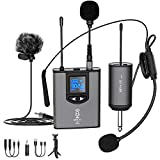 "1. UHF Wireless Microphone System Headset Mic/Stand Mic/Lavalier Lapel Mic with Rechargeable Bodypack Transmitter & Receiver 1/4"" Output for iPhone, PA speaker, DSLR Camera, Recording, Teaching"