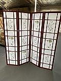 4 Panel Room Divider Coaster Oriental Floral - Cherry