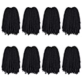 8 Packs Spring Twist Crochet Hair Natural Color 8 Inch Spring Twist Crochet Braiding Hair 15 Strands/Pack Bomb Twist Crochet Braids Synthetic Fluffy Hair Extensions (8inch,#1B)