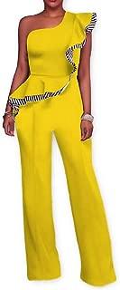 FSSE Womens Ruffle High Waist One-Shoulder Long Wide Leg Jumpsuit Romper