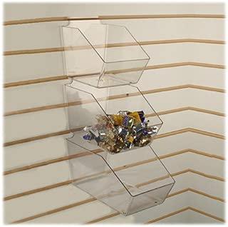 Slatwall Clear Acrylic Bin Multisize Bundle Pack (4 Small, 3 Medium & 3 Large Plastic Slat Bins)