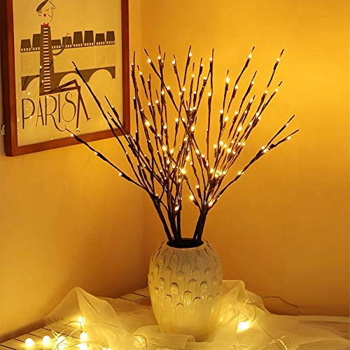 """EAMBRITE 3PK 30"""" Brown Lighted Twig Branches Pathway Light 60 LED Warm White Bulbs for Outdoor and Indoor"""