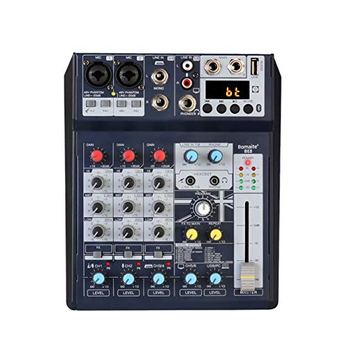 Bomaite BE8 Mini 8 Channel Bluetooth Mixer Audio DJ Console with Sound Card USB 48V Phantom Power for Computer Recording Bands