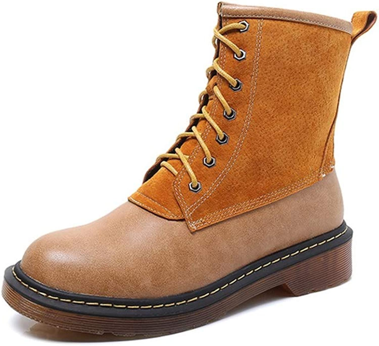 A-LING Women's Casual Lace Up Martin Short Round Head Boots