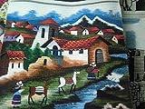Perú peruano Alpacaandmore tradicional de tejido a mano alfombra tejida de alfombras de diseño de juego de alfombrilla de baño de pueblo en la vida de los Andes 100 x 100 cm