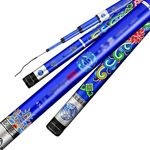 NYKK Angelruten-Kit Ultraharten Ultraleichte Angel, Fliegen Rod, Tilapia Rod, Hand Rod 19-Ton-8H, einzigartige Blaue Chinese Retro Muster Aussehen Angelruten- und Rollen-Combos (Size : 3.0M)