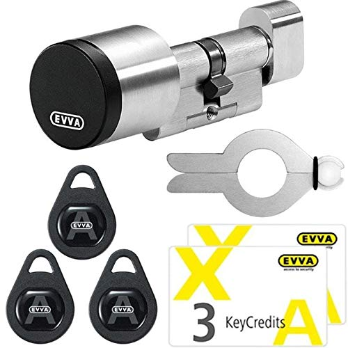 EVVA AirKey Starter Paket elektronisches Türschloss mit Knaufzylinder A:31 / I:31 mm, 3 KeyTags, 6 KeyCredits, Montagewerkzeug