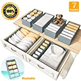Drawer Organizer Clothes Bra Organizer Underwear Organizer Dresser Dividers Organizers Washable Foldable Closet Home Organization and Storage Bins for Bedroom Sock Scarf Belt Baby Clothing - Set of 7