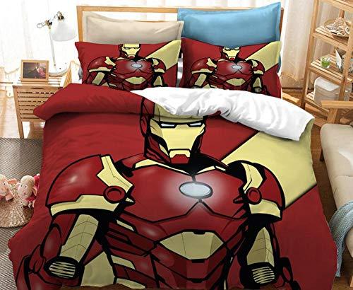 KIrSv Avengers Funda de Almohada con patrón de impresión 3Dcama Individual Doble tamaño King.Favorita para niños y Adolescentes.Juego de Ropa de Cama Suave y cómoda.8_228x264cm (3 Piezas)
