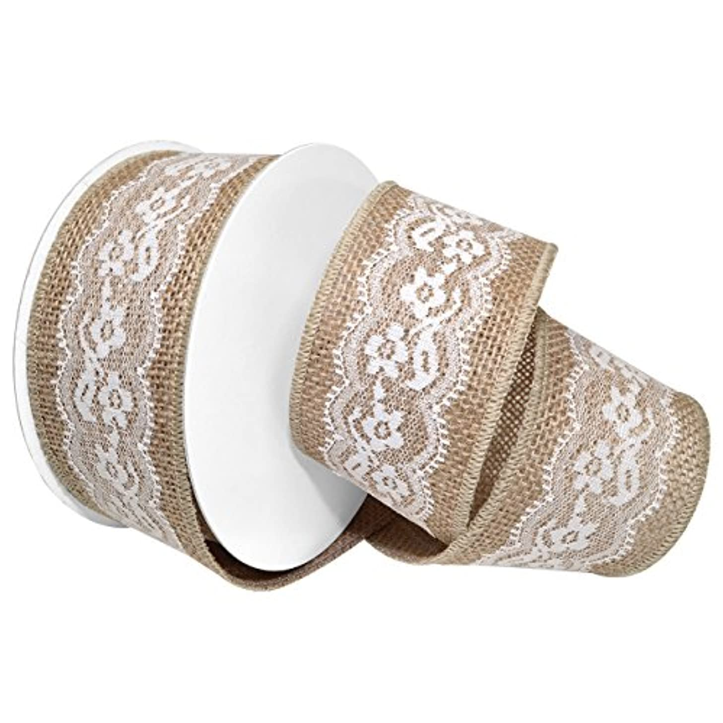 Morex Ribbon Wired Jute Seville Lace Ribbon, 2-1/2
