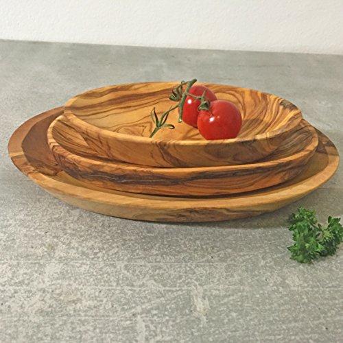 Tapas-Teller-Set, 3-teilig, Olivenholz, Servier- und Dip-Schale, handgefertigt