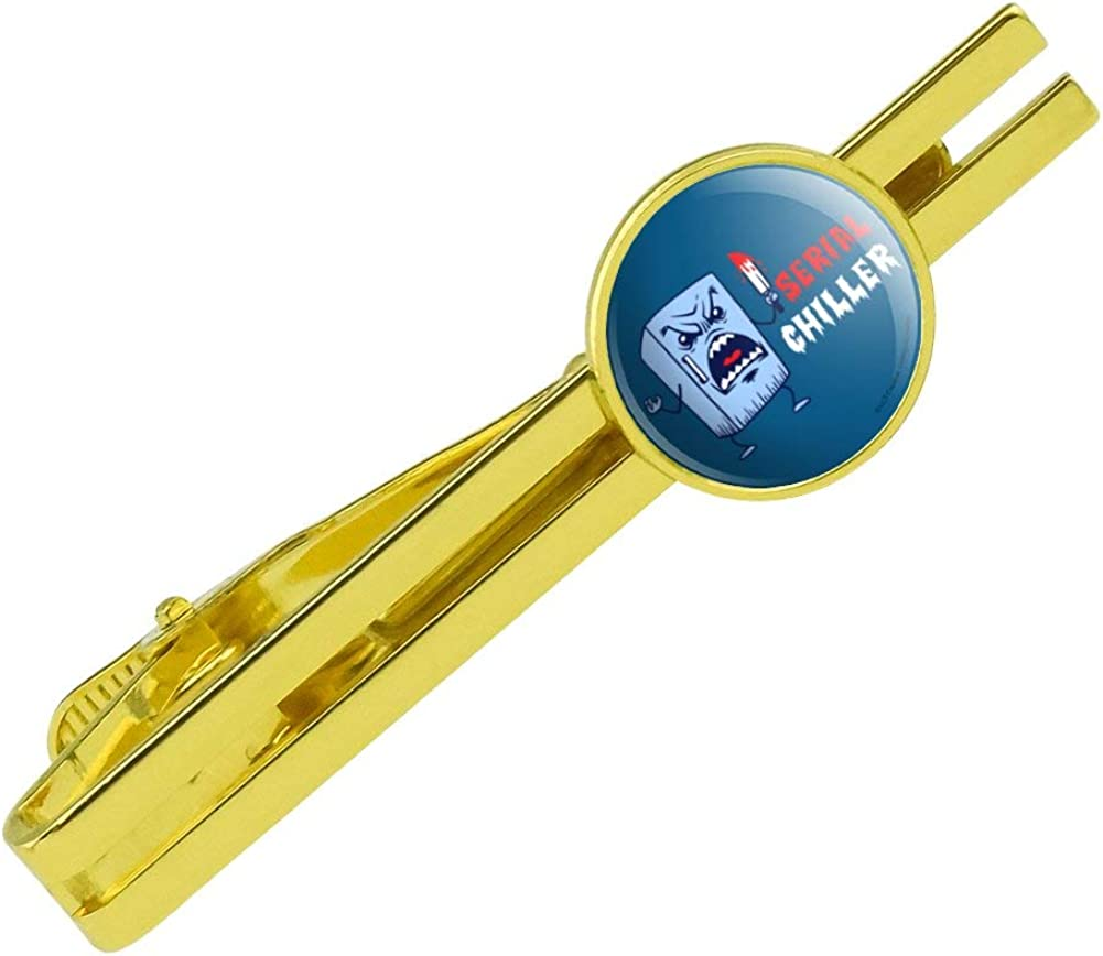 GRAPHICS & MORE Serial Chiller Fridge Killer Funny Humor Round Tie Bar Clip Clasp Tack Gold Color Plated