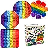 Aipop Pop Fidget Sensory Toy 4 Pack, Push Bubble Fidget Sensory Toys, Silicone Squeeze Autism Special Needs Sensory Toys for Kid and Adult (Multicolor)
