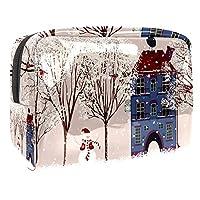 メイクアップバッグトイレタリーバッグ化粧品オーガナイザージッパーポーチ女性用冬雪だるまビルディングツリー漫画
