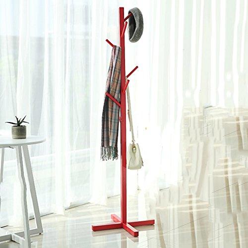 appendiabiti da terra rosso Appendiabiti SKC Lighting pavimento in legno massiccio Camera da letto Abbigliamento Scaffale europeo cappello verticale semplice (Colore : Rosso)