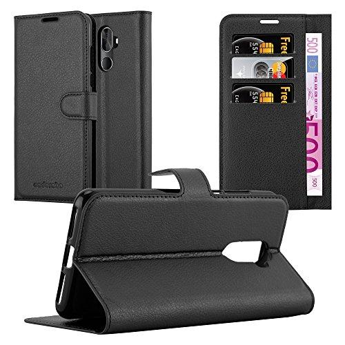 Cadorabo Custodia Libro per Cubot X18 PLUS in NERO CARBONE - con Vani di Carte, Funzione Stand e Chiusura Magnetica - Portafoglio Cover Case Wallet Book Etui Protezione