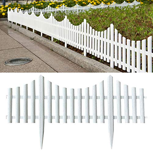 Honeyhouse Zaun Rasenkanten Beeteinfassung Palisade - 61x33cm Gartenzaun Lattenzaun Dekozaun Zierzaun Kunststoffzaun - 6er Pack Friesenzaun (Gesamtlänge 36 m) (White)