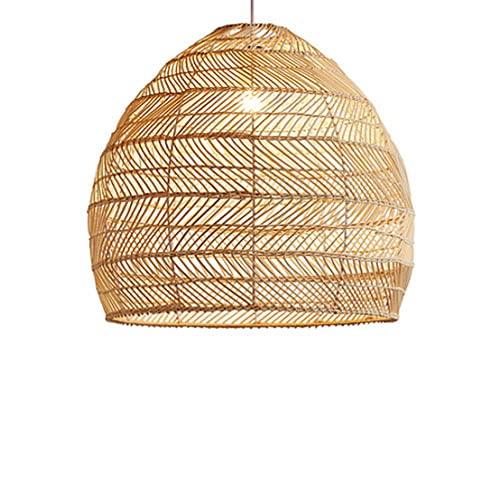 Modeen Candelabro de ratán Bambú Redondo E27 Montaje Empotrado Luz de Techo Pantalla de Mimbre Decoraciones Colgantes Lámpara Bar Cafetería Librería Pasillo Sala de Estar
