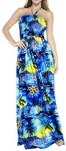 Ropa de Playa Encubrir Tubo primeras Mujeres de la Falda Maxi Vestido sin Espalda Cuello de una Sola Pieza Azul