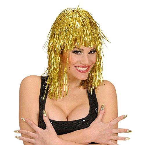 Cleopatra - Peluca de espumilln dorado para Nochevieja, con purpurina, metal brillante, para mujer, para carnaval, fiestas temticas, accesorios para disfraz
