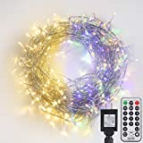 Newpow Christmas Tree Lights Multicolor 5-in-1 Warm White & RGB Color Changing, Timer 24h Cycle Switch, 108ft 300 LED 11 Modes Dimmable Waterproof Transparent Wire