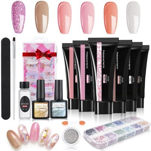 Janolia Nagelverlängerung Kit für Nägel, Nagel Gel Builder Nails Starter Set für Nageldesign mit Basislack Decklack, 6 Farbe Gel Nägel Nagelverlängerung, Sehr Gut Geeignet für Anfänger