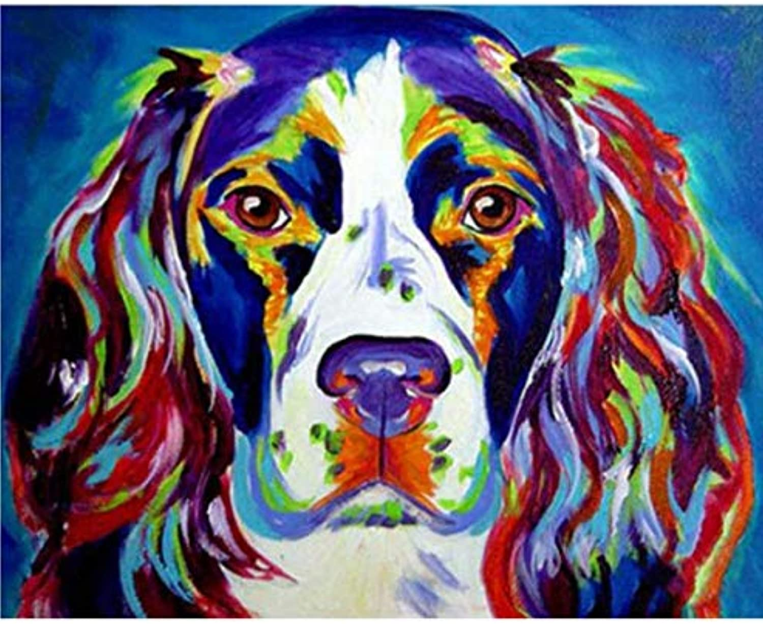 UPUPUPUP colorful Dog Painting By Numbers,Decoration Oil Painting For Living Room,Drawing By Numbers Animal,Tworidc550X70Cm Framed