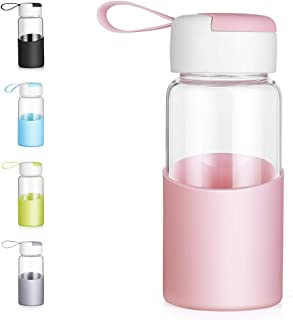 ZDZDZ Glass Water Bottle for Kids 12 Oz Cute Glass Water Container with Lid and Silicone Sleeve, BPA-Free Wide Mouth Water Drinking Bottle Travel Mug Great for School, Office, Outdoor Sport