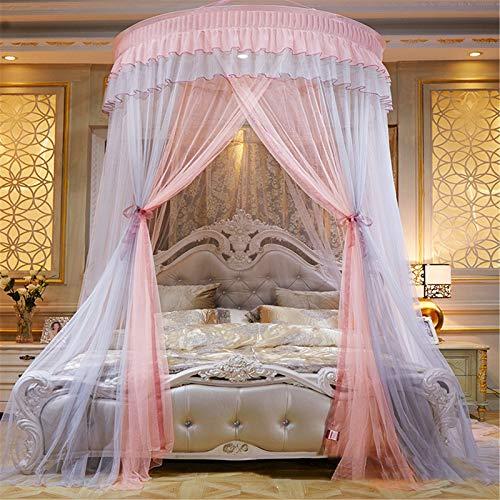 Meng Mosquitera Cúpula Neta, Princess Bed Canopy Lace Mosquito Net para Niñas Cama Cortinas Redondas Carpa Reading Nook,A1,2.0m Bed