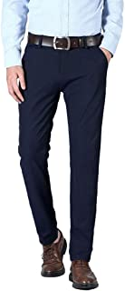 Plaid&Plain Men's Slim Fit Dress Pants Stretch Dress Pants