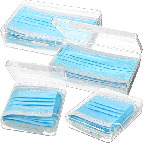 4 Paquetes Organizador de Caja de Almacenamiento de Plástico Transparente Portátiles Carpeta Reutilizable para Cubierta de Cara, Organizador de Clips de Almacenamiento para Prevención de Contaminación
