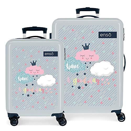 Enso Good Day Juego de maletas Multicolor 55/68 cms Rígida ABS Cierre combinación 104L 4 Ruedas Dobles Equipaje de Mano
