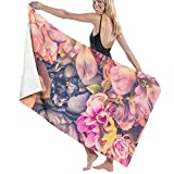 Ewtretr Toalla de Playa Beautiful Background with Different Flowers Super Absorbent Bath Towel Hand Towels for Bathroom Hotel Home Ideas Decoration