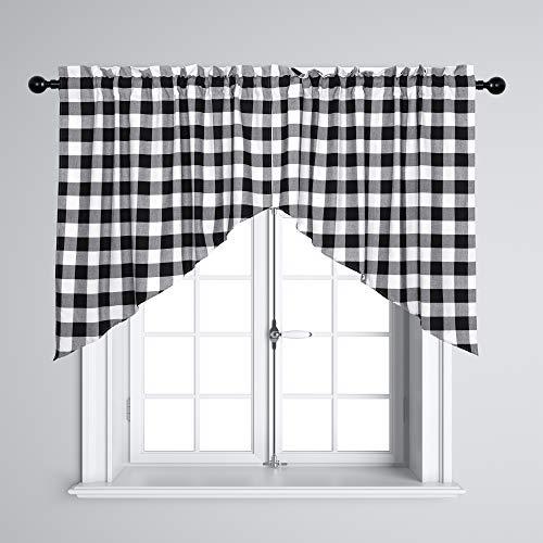 Buffalo Plaid Window Swag Valances Cotton Country Farmhouse Curtain Valances for Kitchen, Cafe, Bathroom, Living Room, White Black Grid