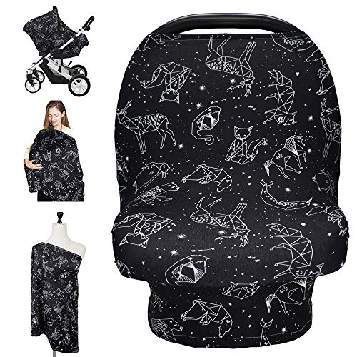 Nursing Cover Carseat Canopy, Rquite Car Seat Covers for Babies Mom Breastfeeding Scarf Infant Multi Use Cover Ups for Baby Stroller & Shopping Cart & Feeding High Chair -Large Size for Girl Boy