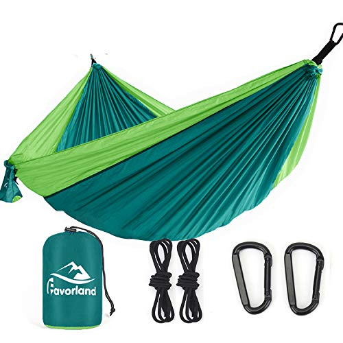 Favorland Camping Hammock Double & Single with Tree Straps for Hiking, Backpacking, Beach, Yard - 2 Persons Outdoor Indoor Lightweight & Portable with Straps & Steel Carabiners Nylon(Green)