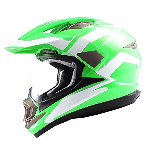 1Storm Dual Sport Helmet Motorcycle Full Face Motocross Off Road Bike Racing Green White