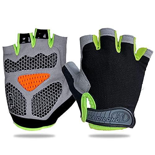 Dishaur Green L Cycling Gloves fingerless for Men & Women, Gel Padded Breathable Half finger Bicycle Mountain Bike Gloves