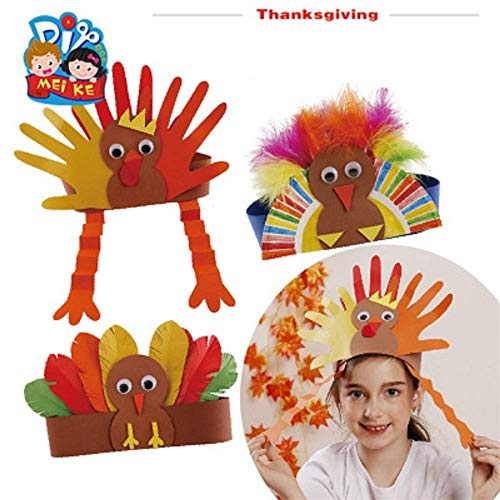 Luckygoo Turkey Craft Kit,3 Pack DIY Thanksgiving Turkey Headbands Turkey Hat DIY Handmade Headband Headdress Kids Adults Thanksgiving Gifts- One Size Fits All